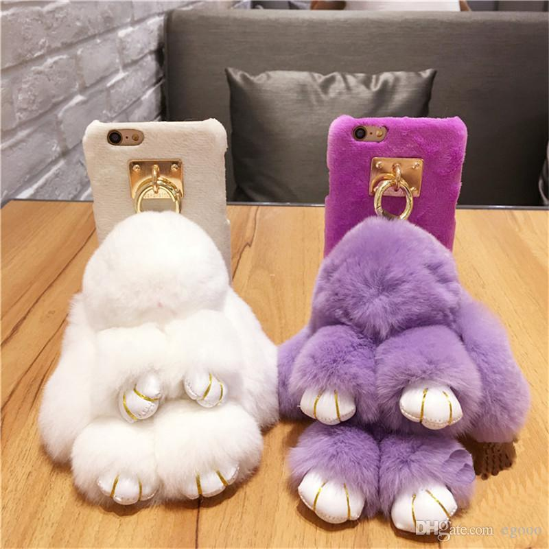 Cute Rabbit Fur Ball Phone Case For