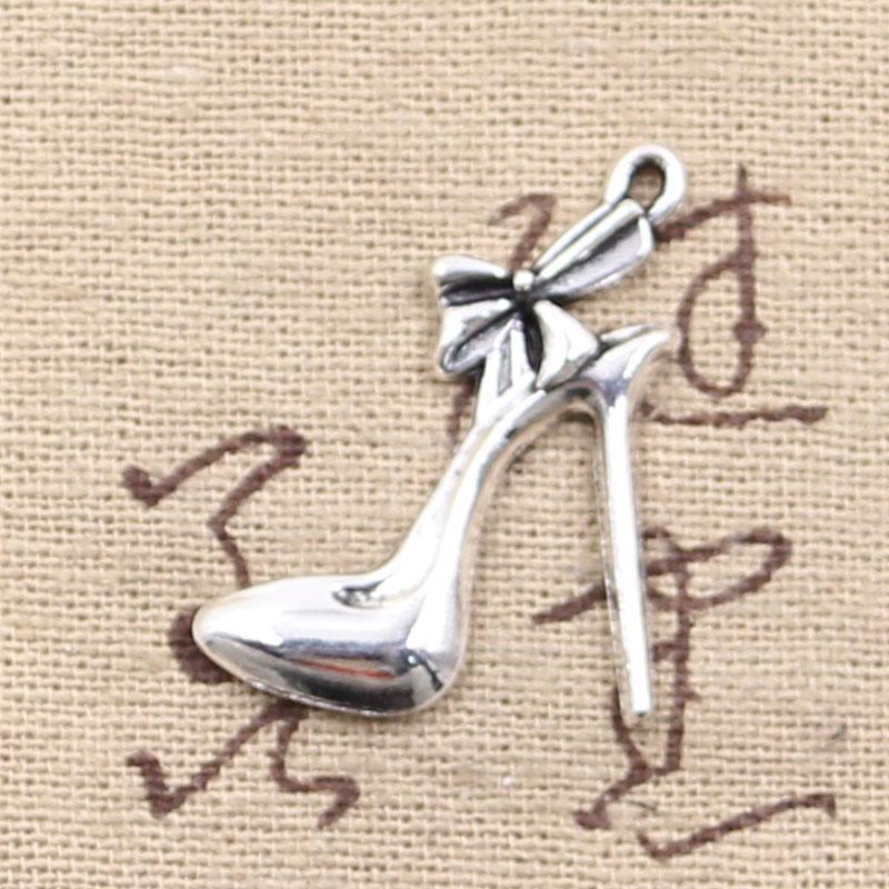 100pcs Encanta los zapatos de tacón alto 31 * 21mm Antique Making colgante en forma, Vintage Tibetan Silver, DIY pulsera collar