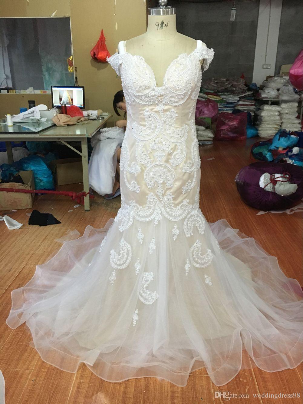 2016 New Arrival Michael Cinco Sheer Garden Wedding Dresses Mermaid ...