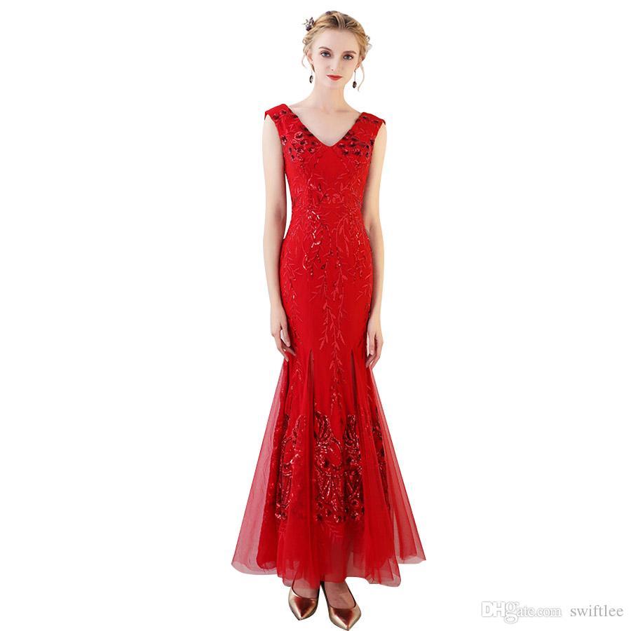 Großhandel CEEWHY Sexy Backless Elegantes Rotes Abendkleid Lange Pailletten  Kleider Abendkleider V Ausschnitt Meerjungfrau Abendkleider Von Swiftlee,
