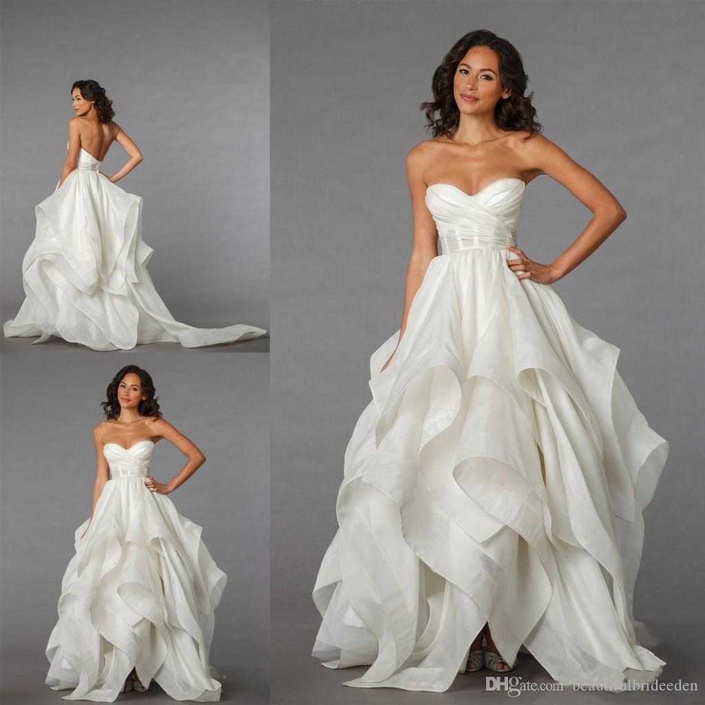 2016 Wedding Dresses Pnina Tornai Collection Vintage A Line Sweetheart with Sheer Waist Low Lace up Back Drapped Brush Train Bridal Gowns