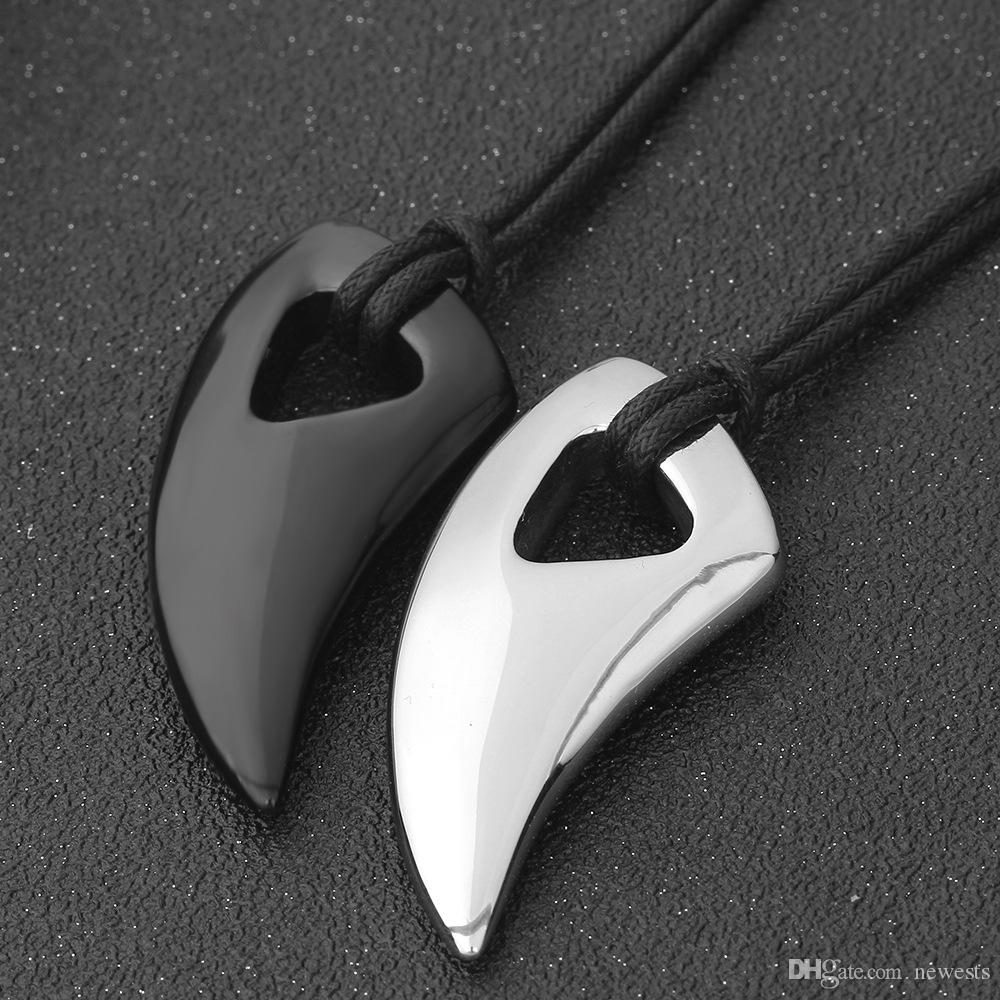 Fashion Black Stainless Steel Necklace Bull Horn Design Man Jewelry Punk Biker Men's Pendants Necklaces