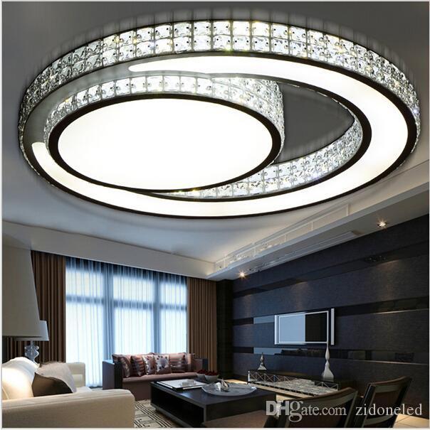 Moderne Minimalisme LED Cristal Plafonniers Circulaire Plafond Lampe Chambre Salon Plafonnier Luminaire lamparas AC85-265V