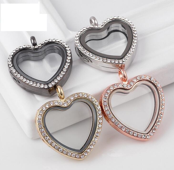 10pcs 30mm 5 colori cuore magnetico vetro magnetico galleggiante in lega di zinco in lega di zinco + strass spedizione gratuita (catene non incluse)