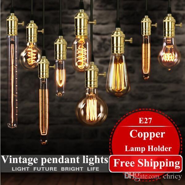 loft hanging lights vintage pendant lights copper lamp holder Edison light bulb industry pendant lamps Golden/Chrome E27 W-filament bulb
