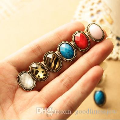 Oorknopjes groothandel voor vrouwen mode-sieraden vintage stijl grote strass elliptische oorbellen oorknoop