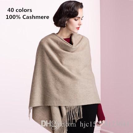 Top qualité 2019 mode automne hiver Pure 100% cachemire glands écharpe pour femmes hommes châle Foulard Hijab écharpes Echarpe pashmina 200 * 70 cm