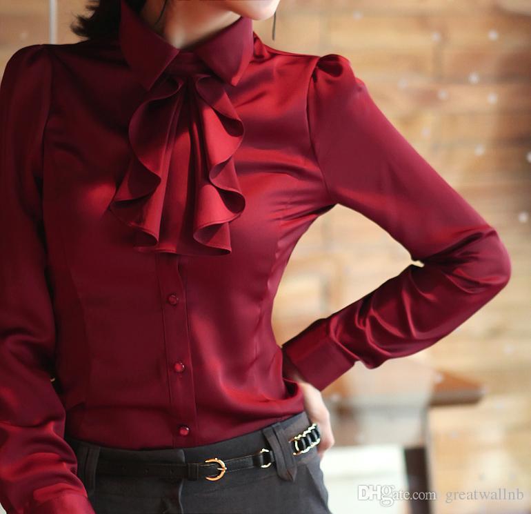 Freeship şarap kırmızı / kraliyet mavi / beyaz / kırmızı mor / kadınlar bayanlar ayrılabilir ilmek kravat bluzlar ofis gömlek iş Bluzlar Gömlekler