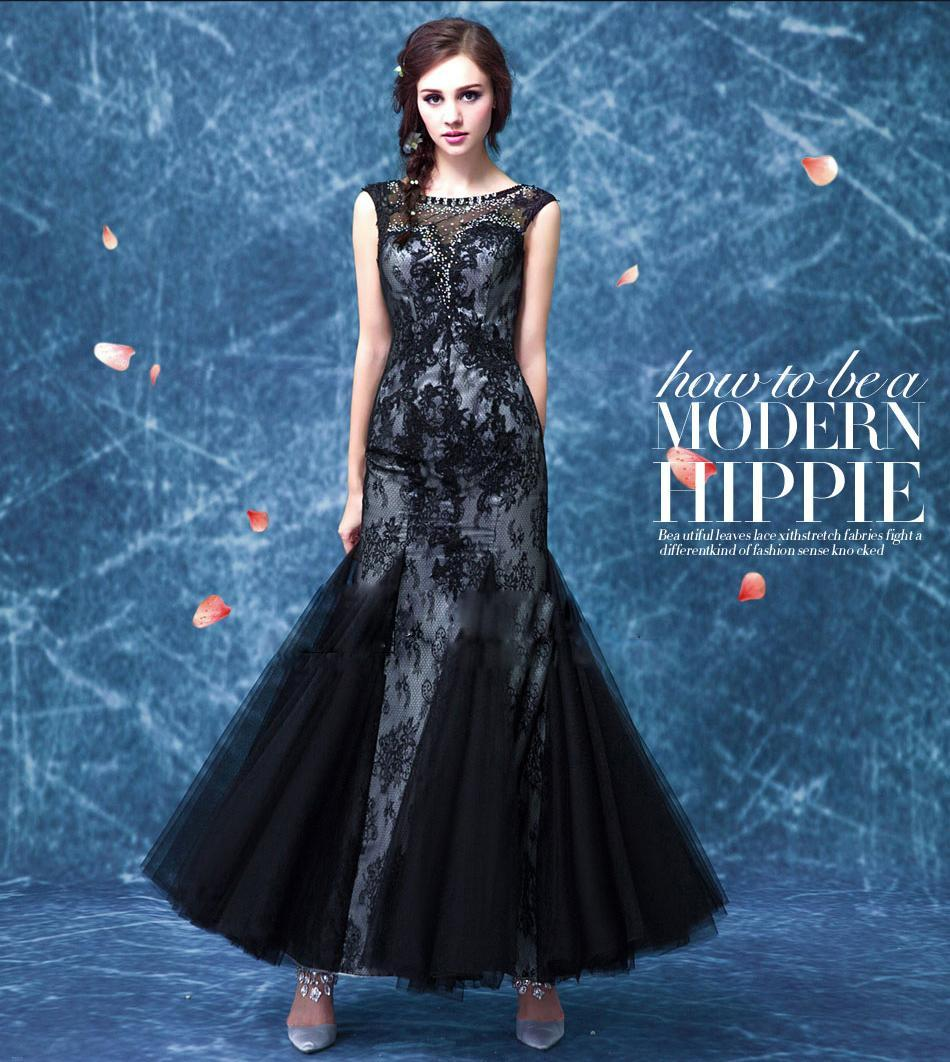 Elegant Long Party Dress New Design 2016 Black Crystal Embroidery ...