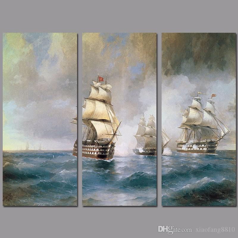 Retro Fashion sail boat decoration 3pcs/set sea wall art picture poster Canvas Painting for children kids living room unframed