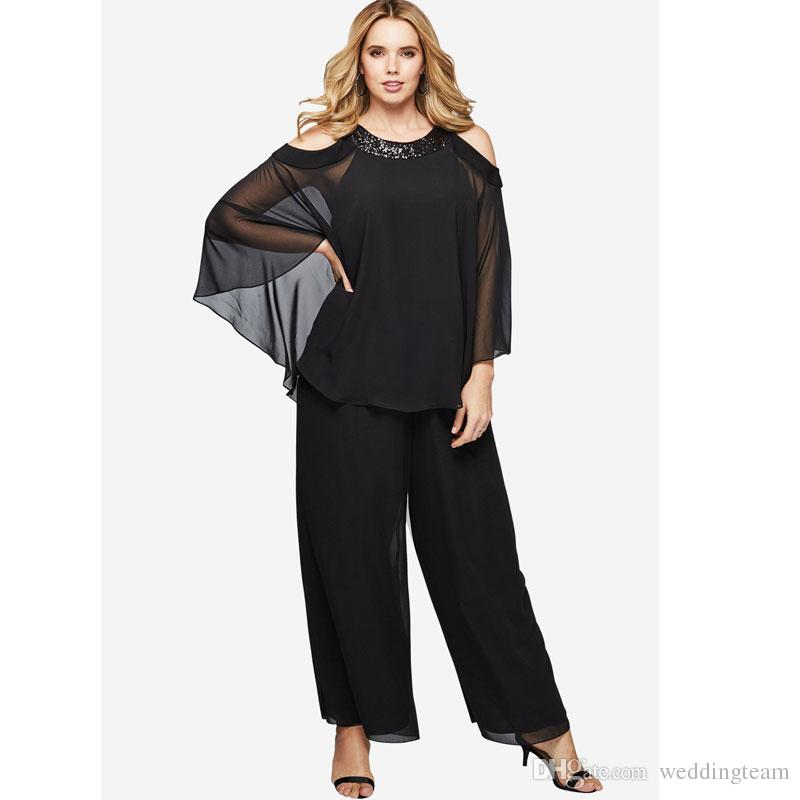 cute big clearance sale search for clearance Black Two Pieces Mother Of The Bride Pant Suits Custom Made Sequined  Wedding Guest Dress Plus Size Cheap Long Sleeves Mothers Groom Dresses UK  2019 ...