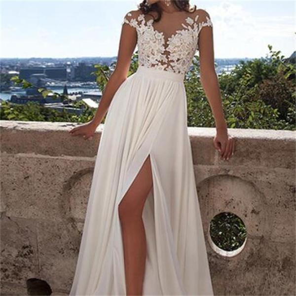 Discount Euro Type Long A Line White Lace Bridal Dress With ...