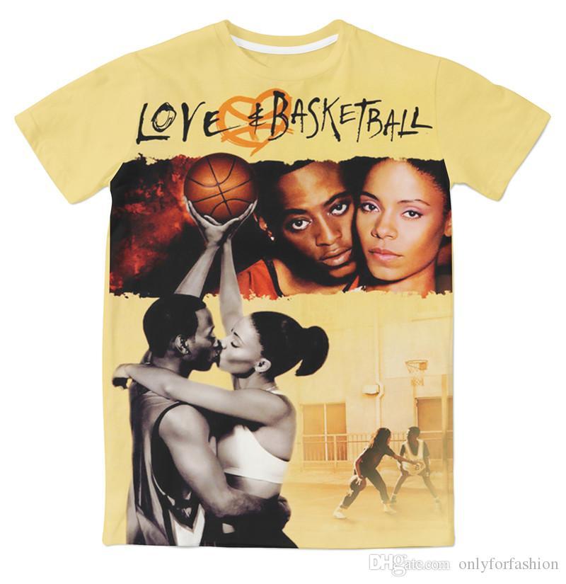 2 Cores Real EUA Tamanho personalizado feito Amor _ Basquete Clássico Moda 3D Sublimação impressão T-shirt