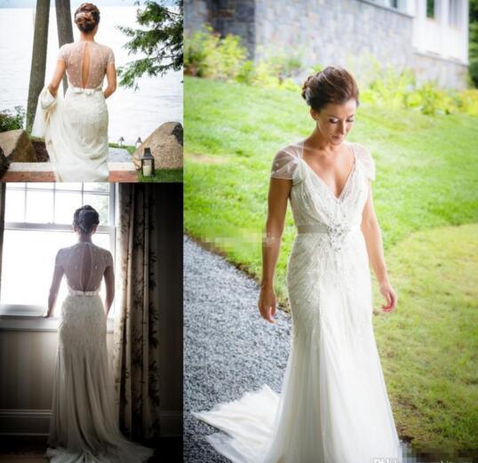 Jenny Packham 웨딩 드레스 봄용 A 라인 짧은 소매 Keyhole 백 V 목 Sash Beading Pearls 빈티지 플러스 사이즈 레이스 신부 가운
