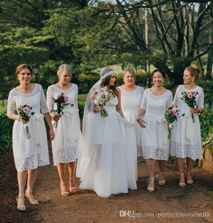 2017 White/Ivory Lace Short Bridesmaids Dresses Plus Size Scoop Neck ...