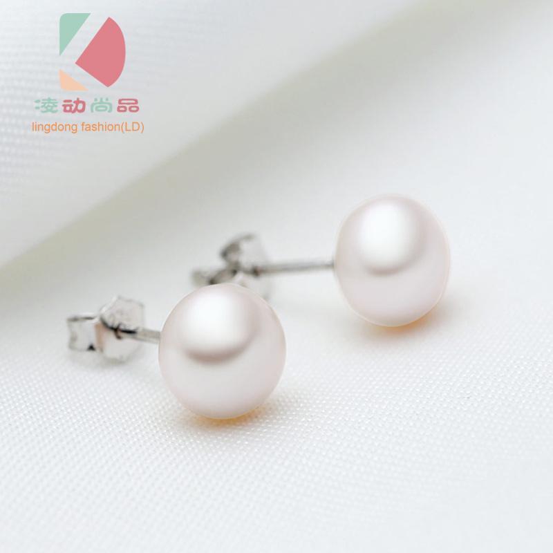 Lingdong moda marca 925 plata esterlina con incrustaciones de perlas de agua dulce pendiente 8mm perla envío gratis