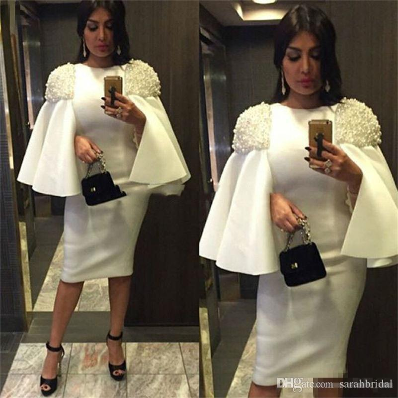 White Sheath Prom Dresses With Beads Peals Knee Length Jewel African Evening Dresses Zipper Vestidos Straight Women Party Gowns Cheap