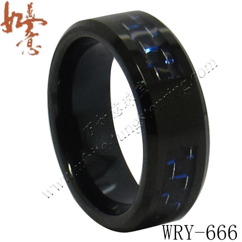 Anneaux de tungstène noirs en fibre de carbone noir et bleu incrustés pour la largeur des hommes WRY-666 8mm
