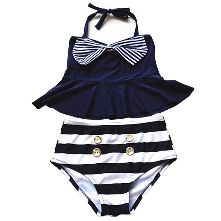 PrettyBaby 2016 Büyük Kızlar Etek Bikini Iki Parçalı Mayolar Çizgili Denizci Gömlek Yüksek Bel Bikini Seti Donanma Mayo Çocuklar