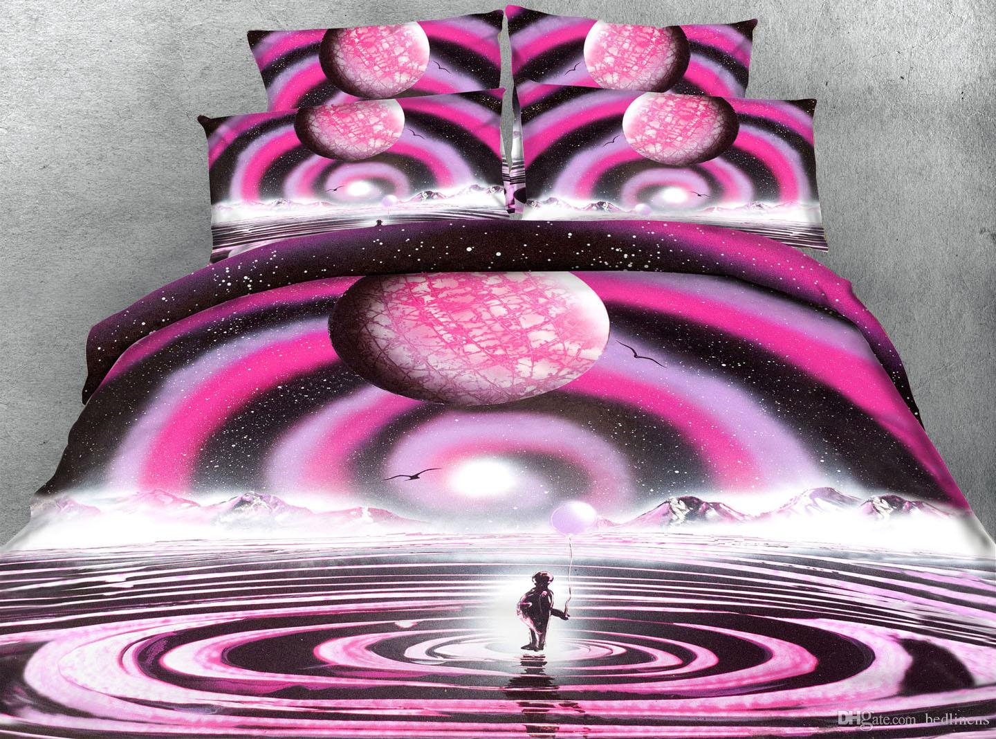 3D Printed Geometric Pink Ripple Bedding Sets Twin Full/Queen King Cal King Size Dovet Cover Set Pillow Covers Bedroom Set Comforter Set
