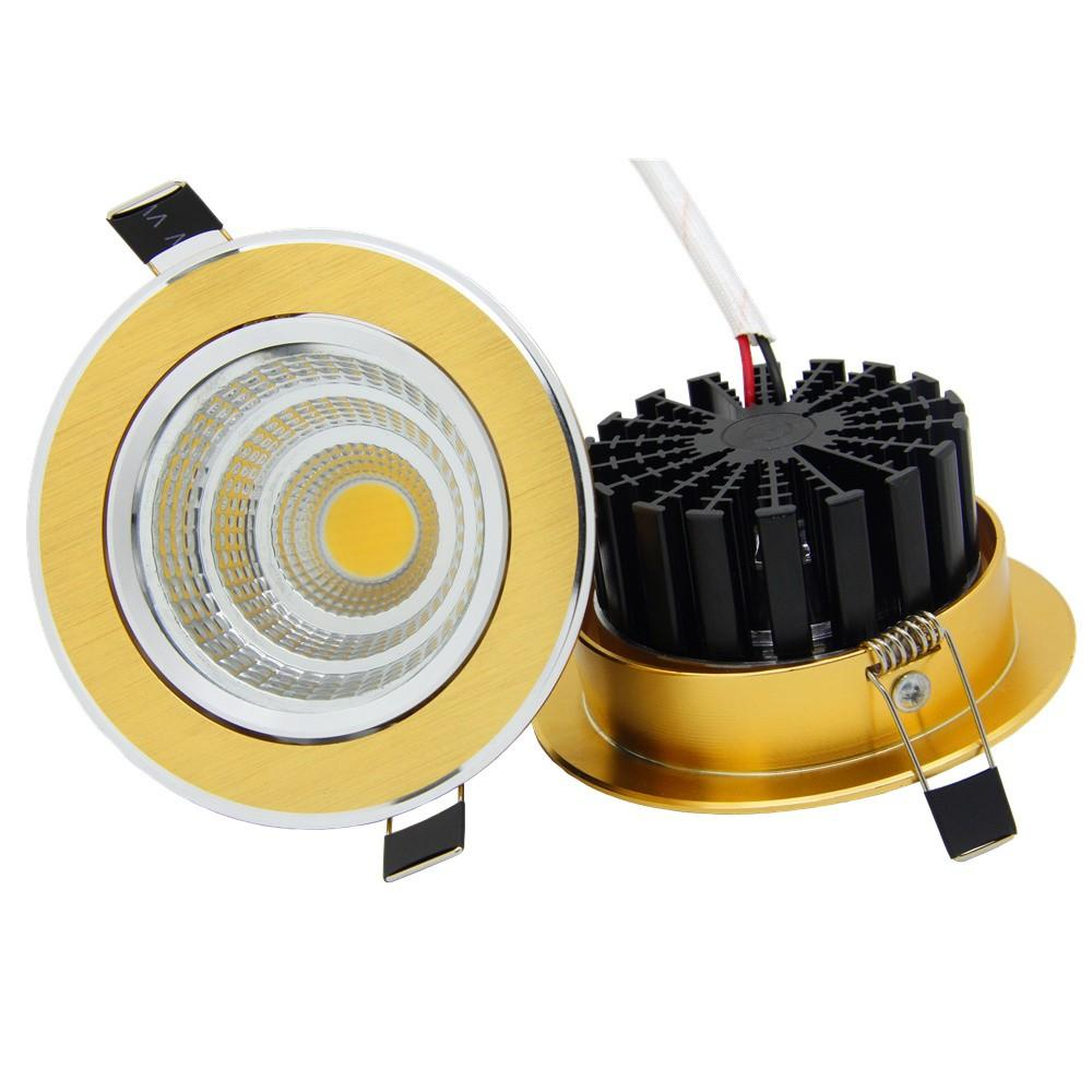 Foco empotrable de oro 6W / 9W / 12W / 15W Foco empotrable LED Lámpara de techo con luz ultra regulable Foco empotrable LED COB