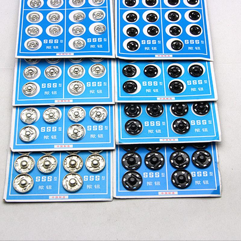 New free shipping Black White 20pcs/lot 10mm/12mm/14mm/15mm Small Metal copper Snap Fasteners Press Button Stud sewing accessory
