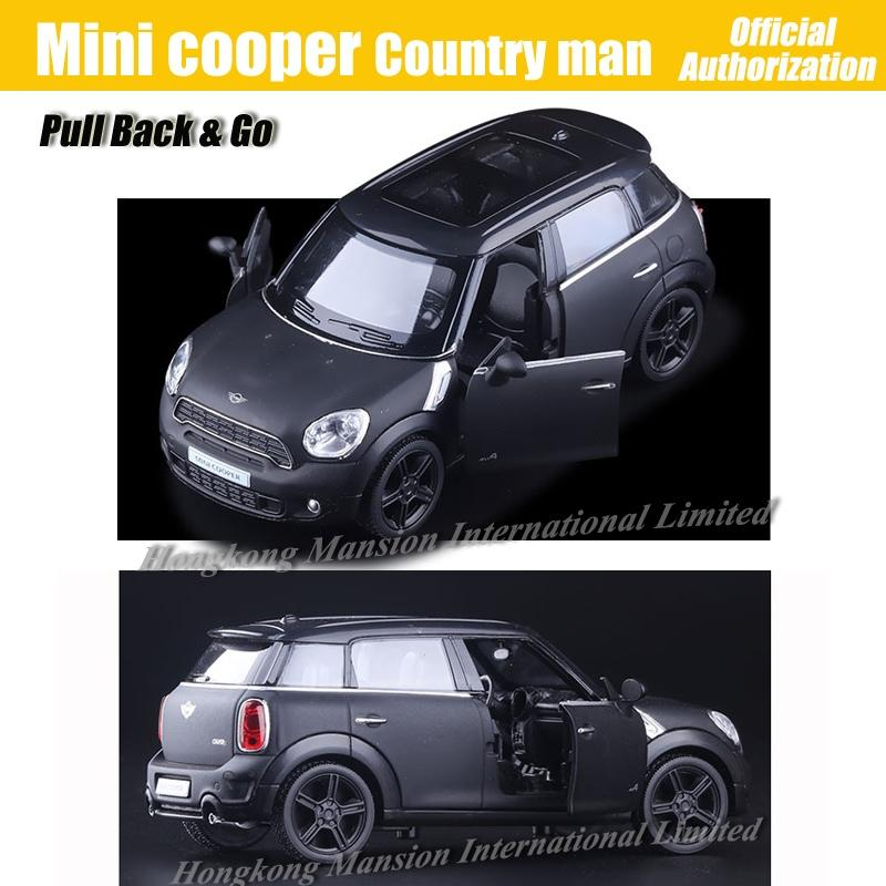 1:36 Scale Diecast Alloy Metal Car Model For MINI Cooper S Countryman Collection Licensed Model Pull Back Toys Car - Matte Black