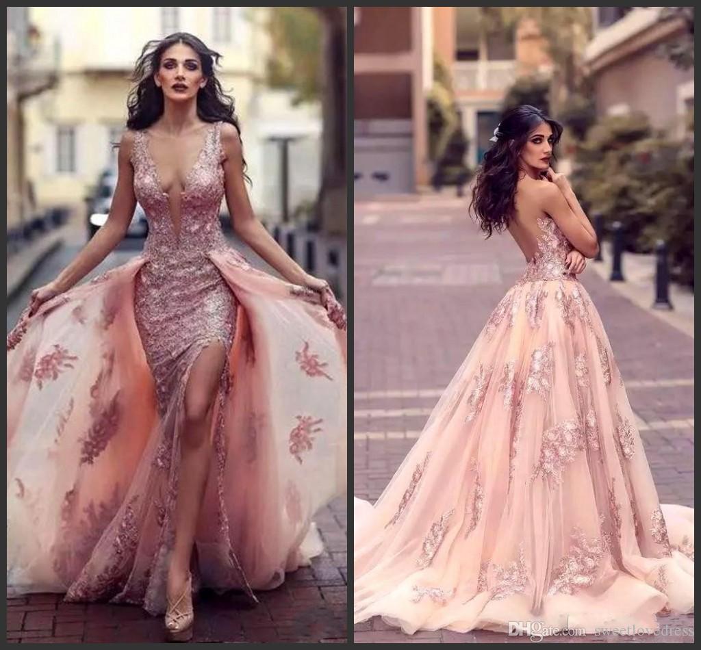 2019 sexy profundo decote em v árabe vestido de noite sereia com sobre-jóias apliques de renda Side-Split Backless Prom vestido Tulle Red Carpet Dr
