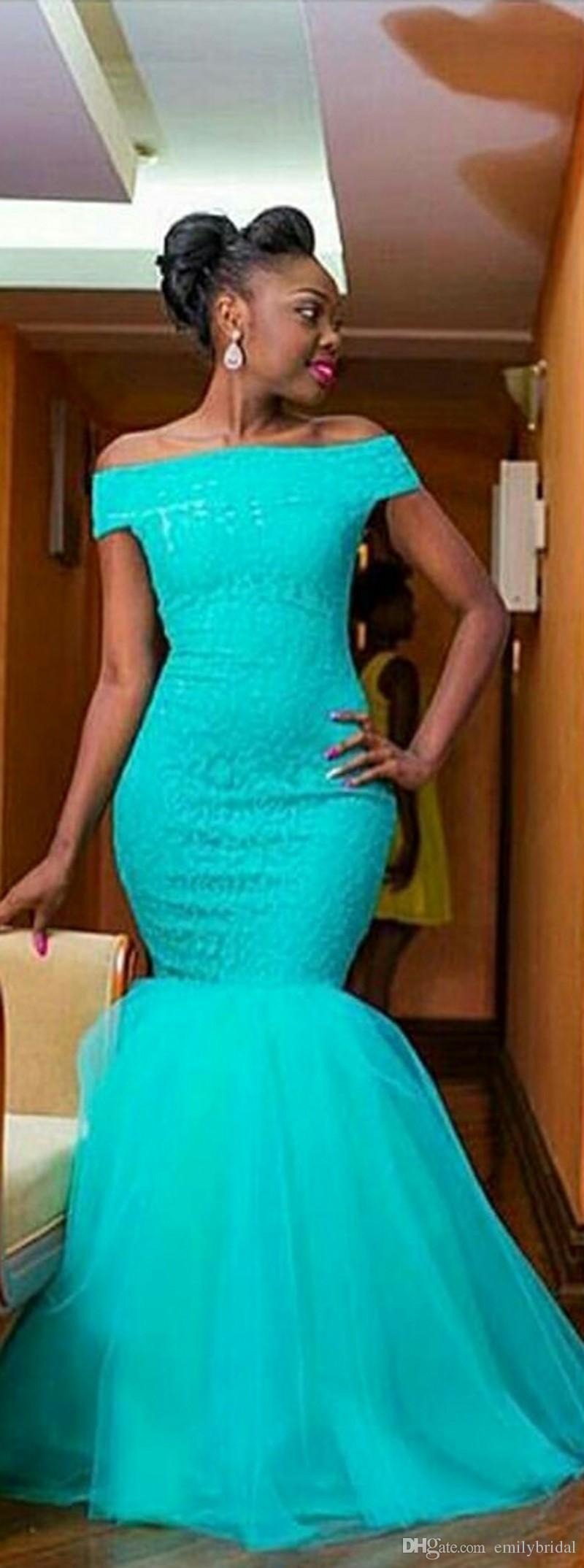 Arabic Style Plus Size Mint Long Bridesmaid Dresses Off The Shoulder ...