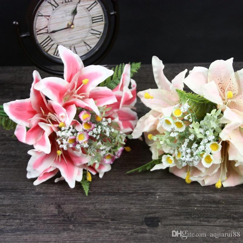 Artificial Silk Lily Daisy Baby-Atem-Blumen-Holding-Blumen-Blumenstrauß-Hauptlieferungs-Hochzeits-Dekoration-freies Verschiffen