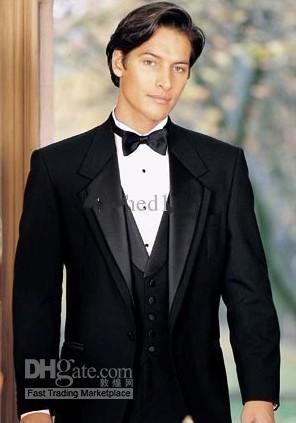 Nuovo design Custom Made Two Buttons Smoking dello sposo nero Notch bavero Best Man Suit Groomsman Mens Abiti da sposa