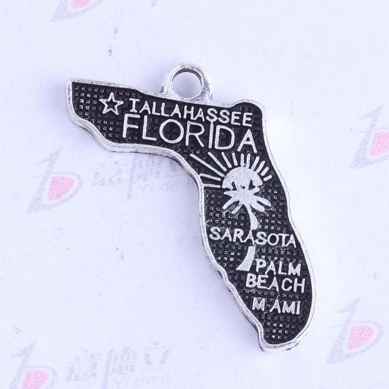 250pcs / lot antique argent / bronze FLORIDA IALLAHASSEE pendentifs irréguliers Charms BRICOLAGE bijoux irréguliers fit colliers 3412