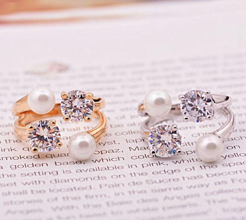 Freeshipping venda quente na Europa e nos Estados Unidos exagerada belo anel de pérola de abertura com anel de jóias de cristal conjunta para as mulheres