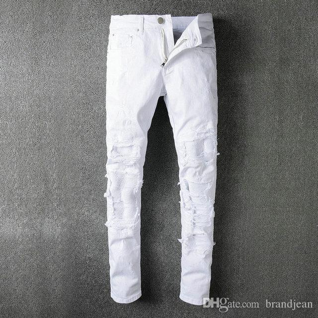 SS18 New arrive Autumn Skinny Slim Fit Washed Coating material Hole Denim Elastic Motorcycle Famous Brand Fashion Denim Jean Single AMIR5056