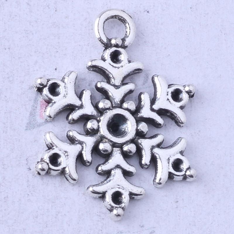 Six points pendentif flocon de neige bricolage antique argent / bronze Fit bracelets collier fabrication de bijoux en métal 250pcs / lot 3453