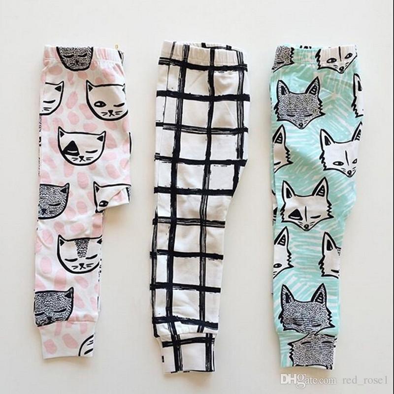 2020 Pantaloni Carino bambini INS cotone completa dei bambini del fumetto Pantaloni Fox Gatto piuma Croce modello Leggings di alta qualità calzamaglia Babywear
