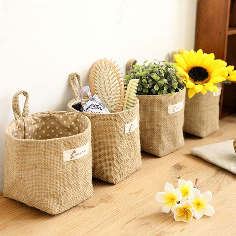 Fashion jute with cotton lining sundries basket mini desktop storage bag hanging bags Zakka style storage box New