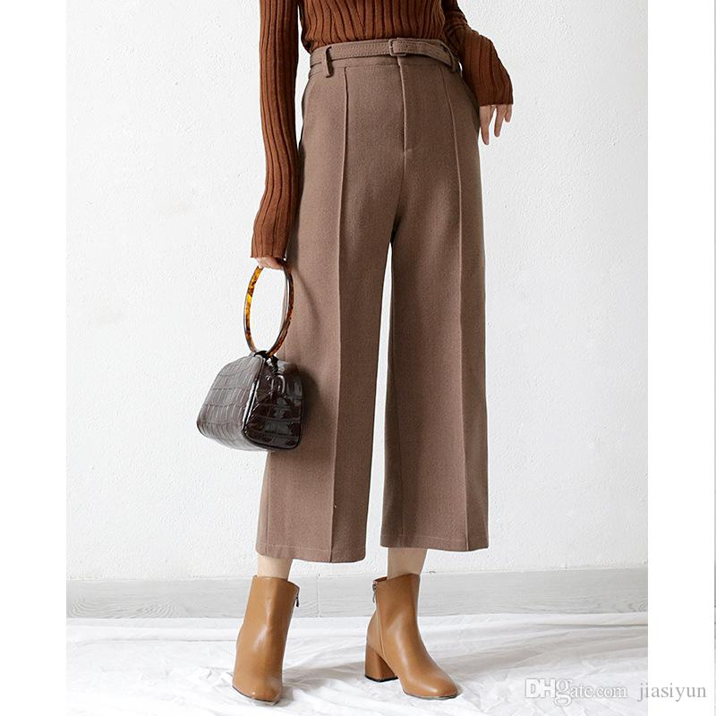 size 7 speical offer classic 2020 Loose Trousers Women Ninth Length Trousers Elegant Wool ...