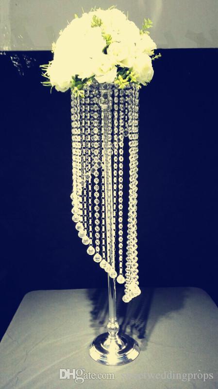 90 cm Uzun boylu düğün koridor kristal ayağı Düğün Avize Centerpiece için Parti Noel düğün yol kurşun