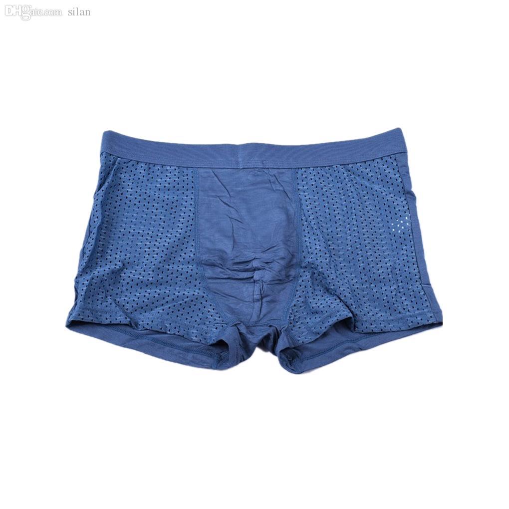 Оптовая продажа-новый сексуальный мужчины нижнее белье бренд боксеры шорты сетки U выпуклые бамбук мужчины трусики прохладный трусы Мужские стволы
