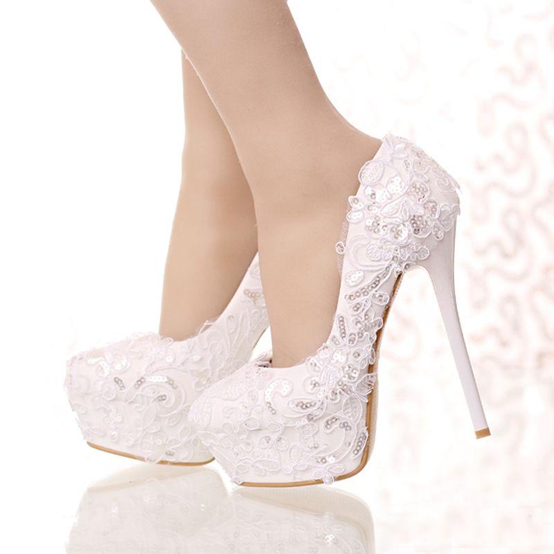 Zapatos de novia de encaje y brillo blancos Punta Redonda Arco de la boda Zapatos de tacón alto Plataforma Mujeres Partido Zapatos de vestir Bomba de dama de honor