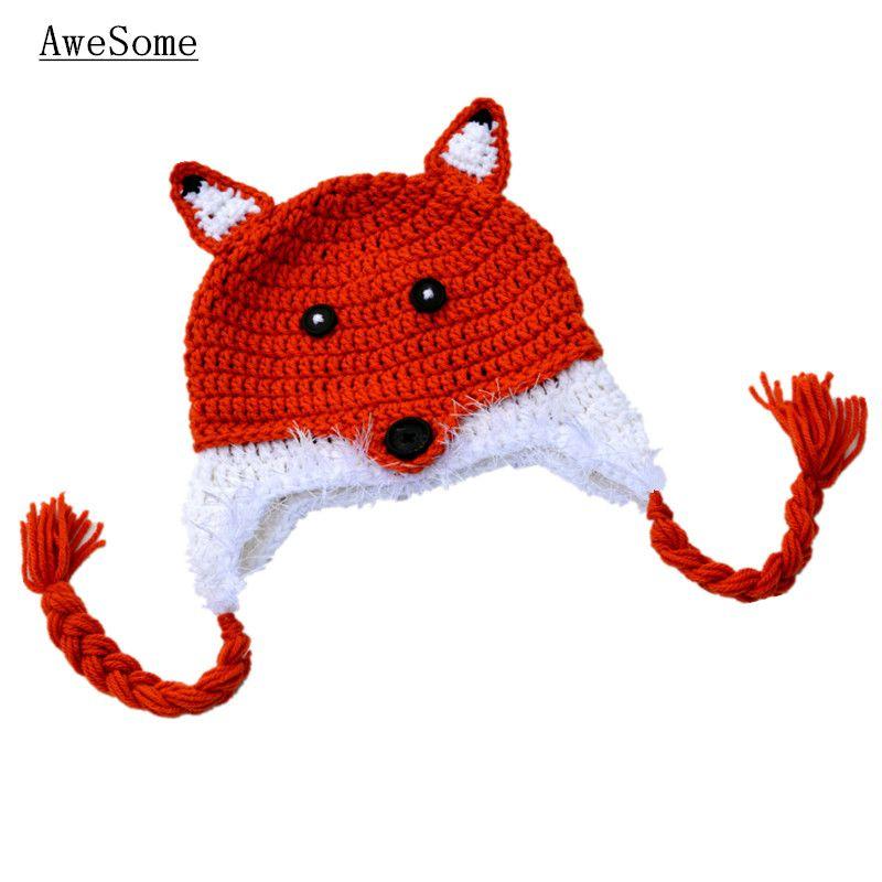 Novelty Orange Fox Baby Hat,Handmade Knit Crochet Baby Boy Girl Woodland Animal Fox Hat,Kids Earflap Winter Hat,Infant Toddler Photo Prop