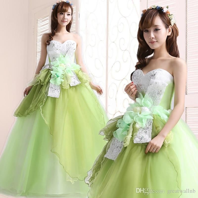 geben Sie den grünen und weißen Bowknot des Schiffs frei, der gekräuseltes Kleid des Schleierballkleides cosplay mittelalterliches Kleid / Tanz / Bühnenperformance bördelt