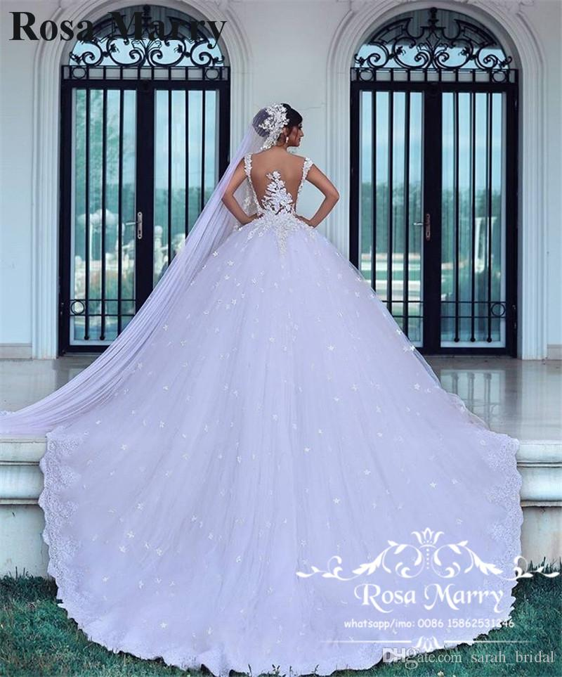 Luxury Gothic Ball Gown Wedding Dresses 2020 Sexy Illusion Back Vintage Lace Plus Size 3D Floral Tulle Arabic Dubai Muslim Bridal Gowns