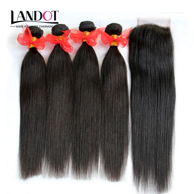 5Pcs Lot Brazilian Straight Virgin Hair Weaves With Lace Closure Unprocessed Human Hair 4 Bundles And Closures Free/Middle/3 Part Closure