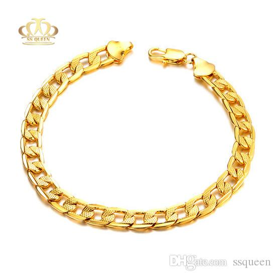 18K Real Gold Plated Bracelet Men Jewelry New Trendy 6 MM Wide 22cm length Men gold Chain