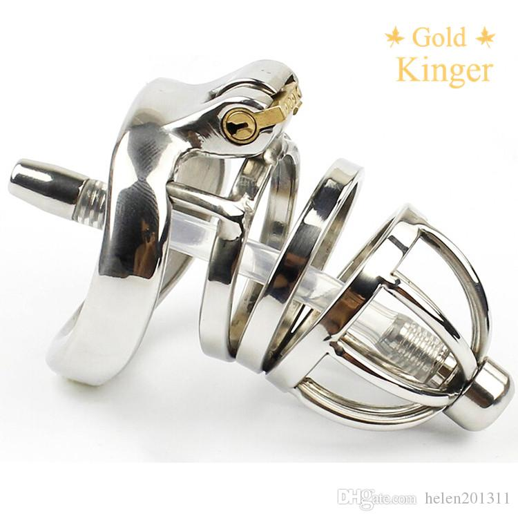 Male Chastity Device Stainless Steel Cock Cage with Tube A275-1