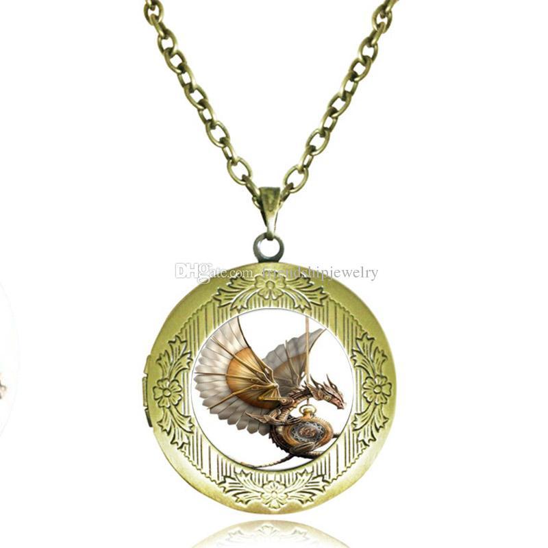 Antique Locket Necklace Steampunk Dragon Pendant Glass Cabochon Time Gem Necklace Fashion Jewelry for Women Men Girls Boys Accessories