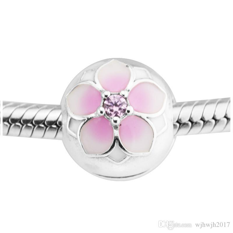 Magnolia Bloom Fixed Clip Beads For Jewelry Making 925 Sterling Silver Enamel Flower Stopper Bead DIY Fashion Brand Bracelets Accessories