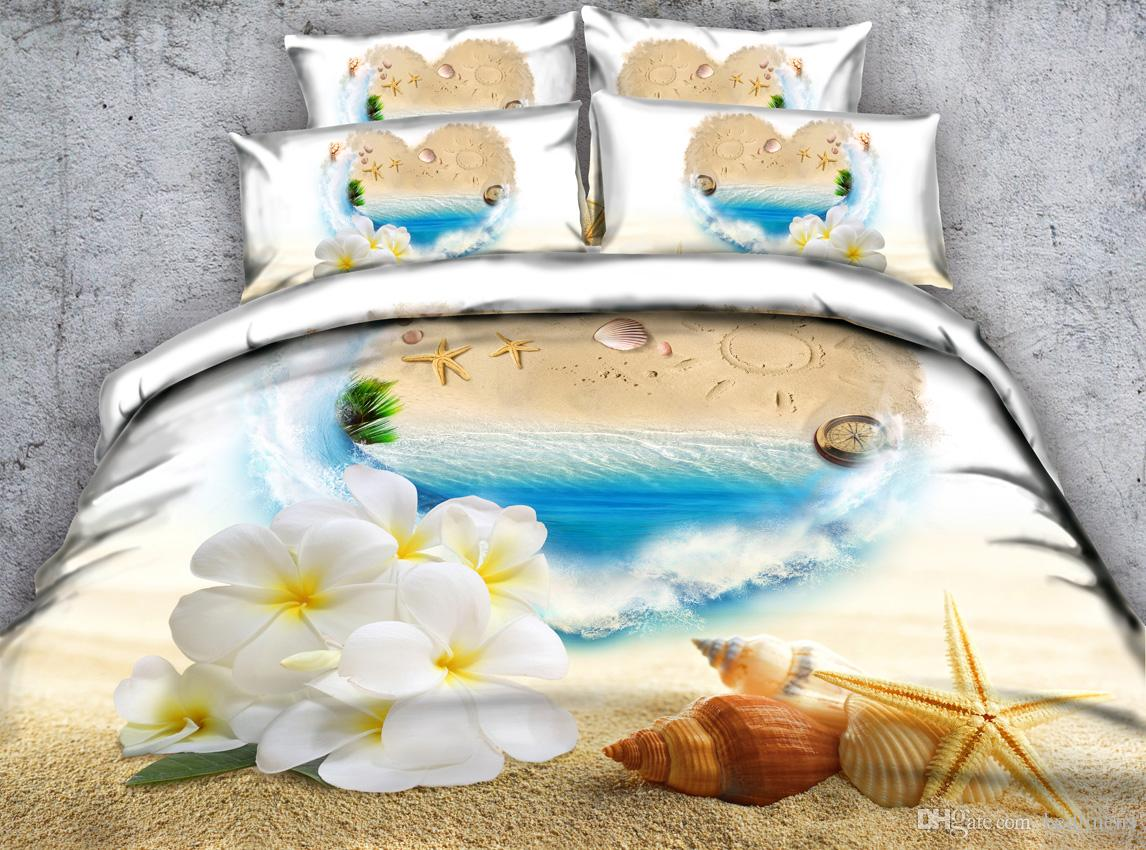 Beach Bedding 3D Floral Printed Bedding Set Twin Full Queen King Size Duvet Covers Pillow Shams Comforter Bed Set Bedspreads Girls Adults